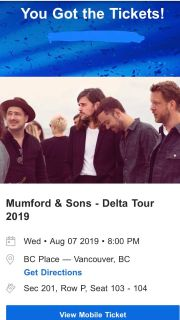 Mumford and Sons concert tickets