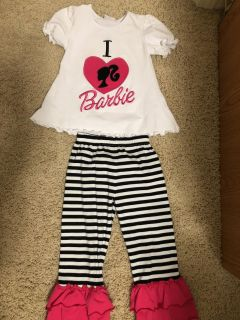 VGUC- Smocked Blessings- I Love Barbie 2 piece pants outfit- size 3t