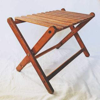 Wood Slat Bench Danish Modern Folding Coffee Table