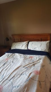 Queen Wooden Headboard and night stand