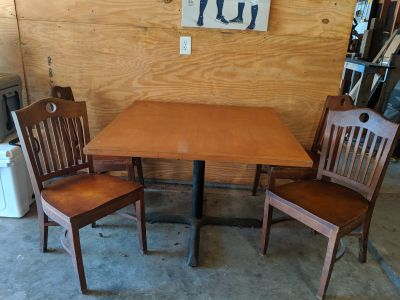 Wooden bar table & chairs