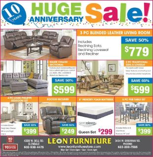 HUGE SALE OF FURNITURE ON 10TH ANNIVERSARY OF LEON FURNITURE, PHOENIX