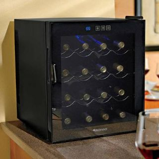New Wine Enthusiast Silent 16-Bottle Touchscreen Wine Cellar with Blac