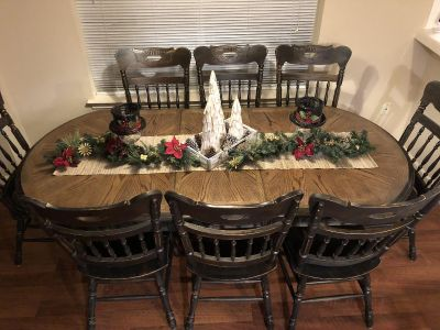 Black distressed table with 8 chairs