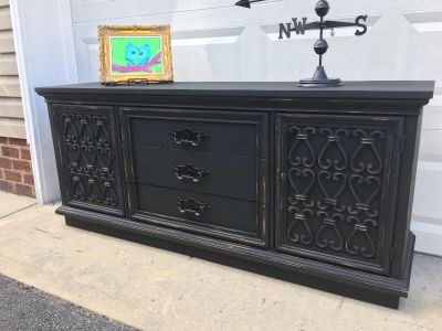 Midnight black buffet/TV console/changing table