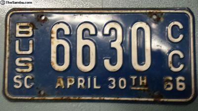 1966 South Carolina Bus License Plate Original