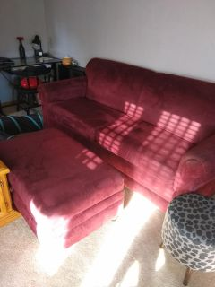 Red Microfiber Couch with Ottoman