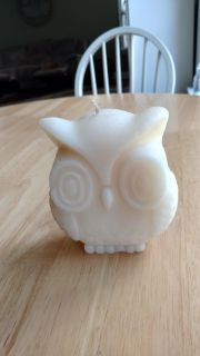 """New owl candle measures 4"""" wide and 5"""" tall"""