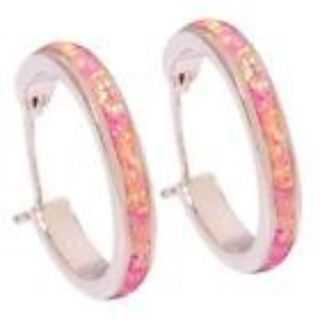 New - Pink Fire Opal Silver Hoop Earrings