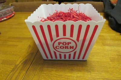 """NEW Large Plastic Pop Corn Tub or Gift Basket with red shred-8.75""""x8.75"""""""