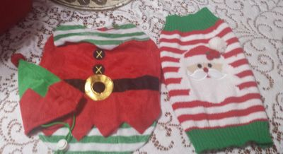 Small Dog Christmas Outfits- you get both outfits for $3