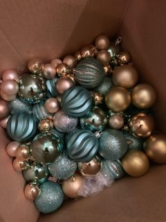Gold and pale blue ornaments