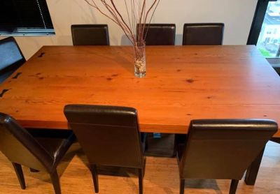 Stunning Single Solid Plank Reclaimed Wood Custom Dining Table