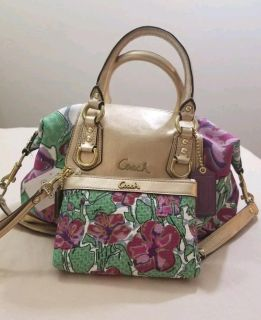 Coach Ashley gold floral satchel with matching wristlet