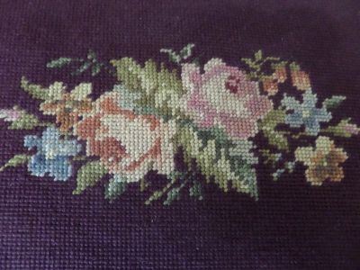 Vintage Shabby Cabbage Rose needle point foot stool