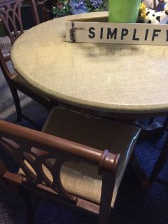 Refurbised burlap round table and four antique chairs