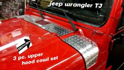 Buy JEEP wrangler TJ DIAMOND PLATE 3 PC.UPPER HOOD COWL SET motorcycle in Elmwood Park, Illinois, United States, for US $49.95