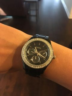 Fossil watch with rhinestones