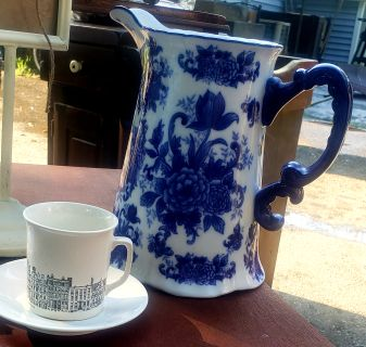 Vintage blue white pitcher