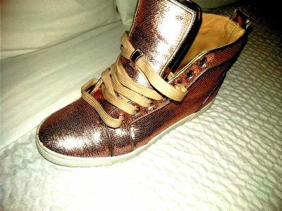 Christian Louboutin gold redbottom sneakers