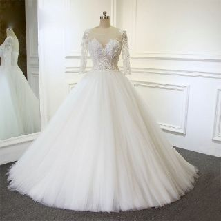 Nicole's A Line Tulle Beading Wedding Gown