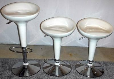 (3) Contemporary White Adj Height Bar / Counter stool - Chrome Base