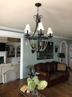 Beautiful iron and crystal chandelier
