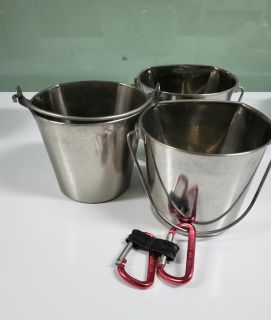 Stainless Steel 2 at. water buckets. All 3 for $11.00
