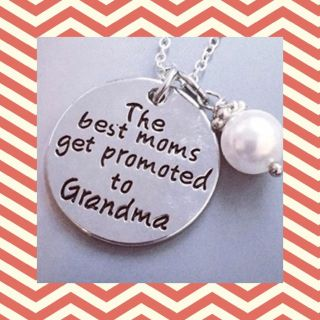 The Best Moms Get Promoted To Grandma silver pendant necklaces with 18 chain, $3 each!