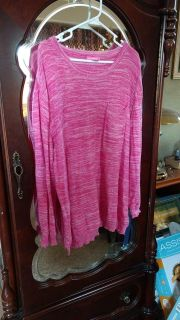 WOMAN WITHIN Pink & White Sweater - Size 1X (22/24)