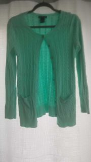 Pastel green cable knit cardigan with front pockets