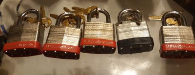 5 NEW PADLOCKS WITH KEYS