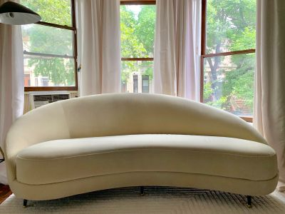West Elm Ivory Velvet Curved Tufted Sofa
