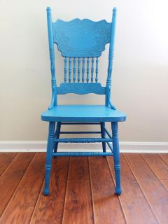 Antique Blue Dining Chair Solid Wood