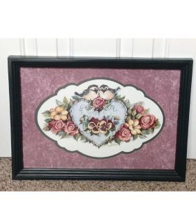 Home Interior Homco 2 Birds On Heart with Flowers Picture