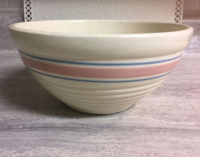 Vintage McCoy or Hull ? Pink & Blue Stripe Beehive Stoneware Mixing Bowl. CP.