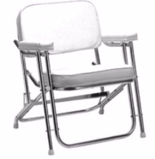 """Find Seachoice 78501 Folding Deck Chair (1"""" Anodized Aluminum) White Vinyl Marine LC motorcycle in Hollywood, Florida, United States, for US $147.07"""