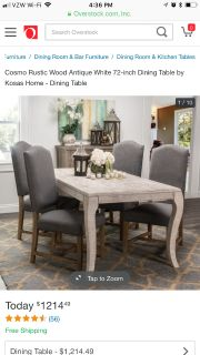 72 inch Rustic Antique White dining table