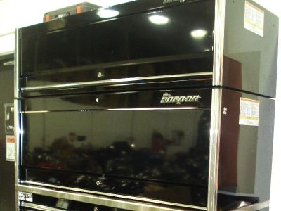 "Snap On Black Epiq 68"" Double Bank, Hutch, Upper Unit, & Stainless Power Top"