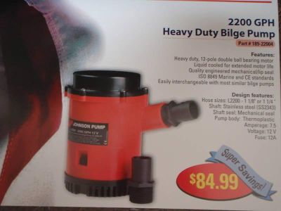 Find BILGEPUMP HEAVY DUTY 2200 GPH S/S SHAFT 12V 18922004 motorcycle in Osprey, Florida, US, for US $98.99