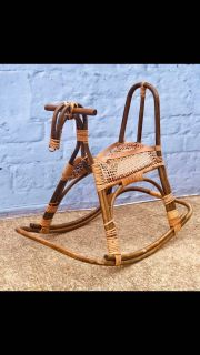 Mid Century Franco Albini Vintage Rattan and Bamboo Rocking Horse