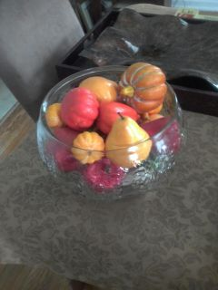 Glass Bowl with Artificial Fruit