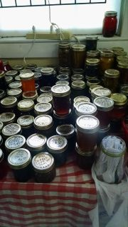 Homeade jams,jellies;pepper jelly,pickled quail or chicken eggs,fudge,fruit breads and more