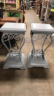 Pair of Iron & Wood Stands @ Brass Bear 2652 Valleydale Rd Birmingham (Hoover area) AL 35244 -- 205-566-0601
