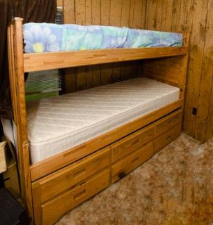 Wood Bunk Beds with Mattresses