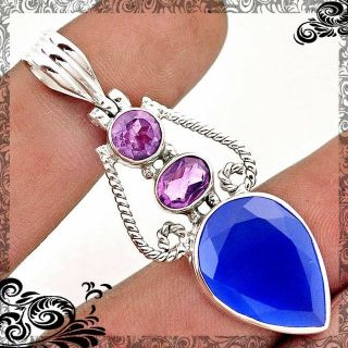 New - Blue Chalcedony and Amethyst 925 Sterling Silver Pendant (Includes a chain)