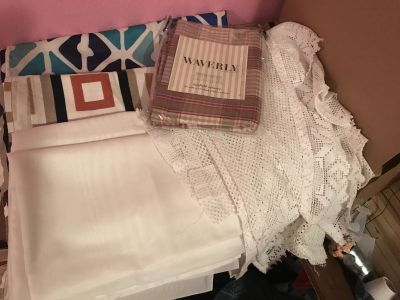 Assorted curtains...2 white panels, 2 white valances, few single panels..All for $10