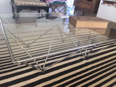 glass and metal, brass ram head hoof coffee tables