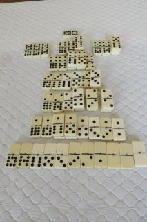 Vintage White, Brass Studded Dominoes, Odd Lot, 56 Pieces