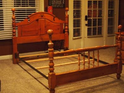 Queen size country pine bed frame
